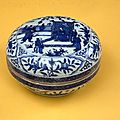 Box and lid with blue-and-white decoration of figures, Chinese, Ming dynasty, Wanli period (1572–1620)
