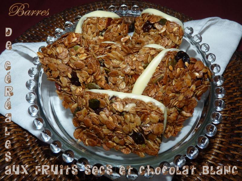 Barres de céréales aux fruits secs et chocolat blanc