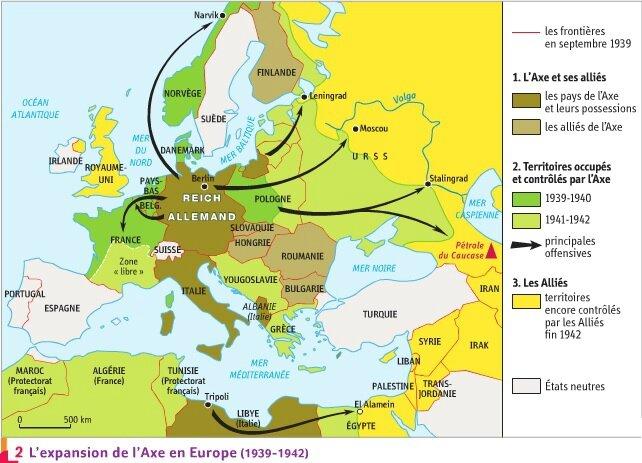 carte europe 2 guerre mondiale