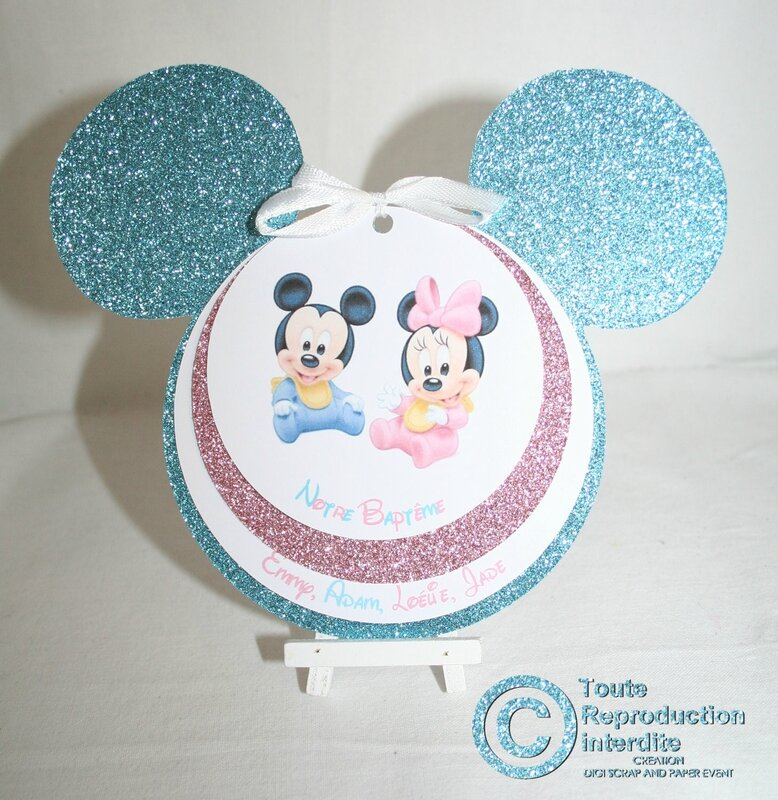 Faire part mickey baby pour un bapt me de gar on et de - Theme bapteme garcon original ...