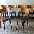 Suite de 6 chaises de bistrot baumann 60's