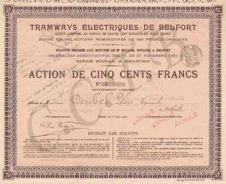 Titre Tramways Belfort 1 CCTB