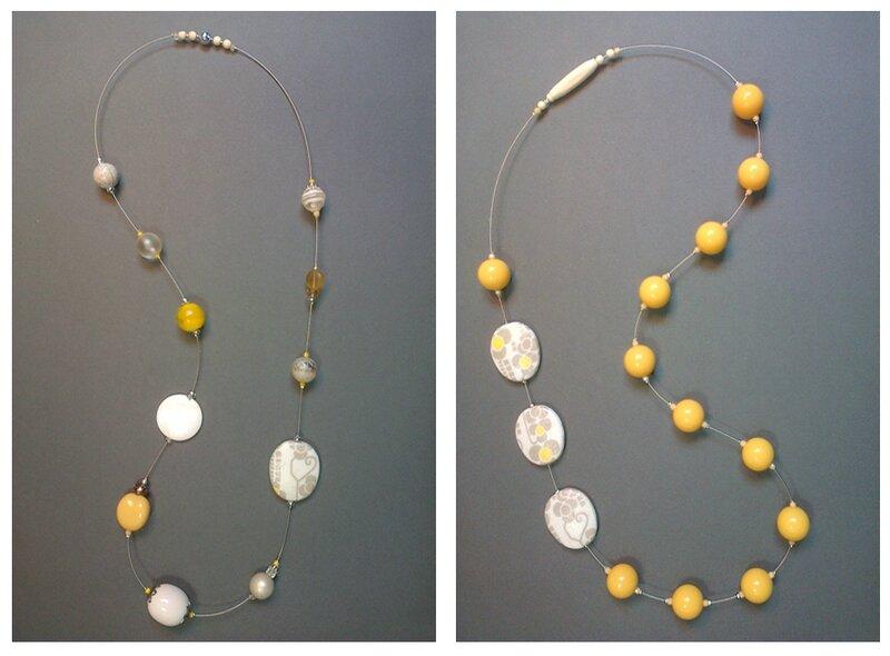 Montage sautoirs jaune-gris