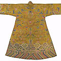 An imperial yellow satin brocade robe, chuba, the brocade, 18th century