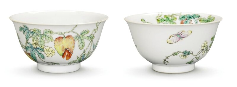 A pair of Famille-Rose 'Balsam Pear' Bowls, Qianlong Seal Marks and Period (1736-1795)
