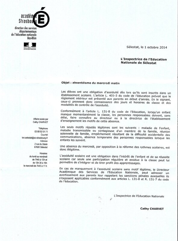 courrier du 1 octobre -absentéisme-