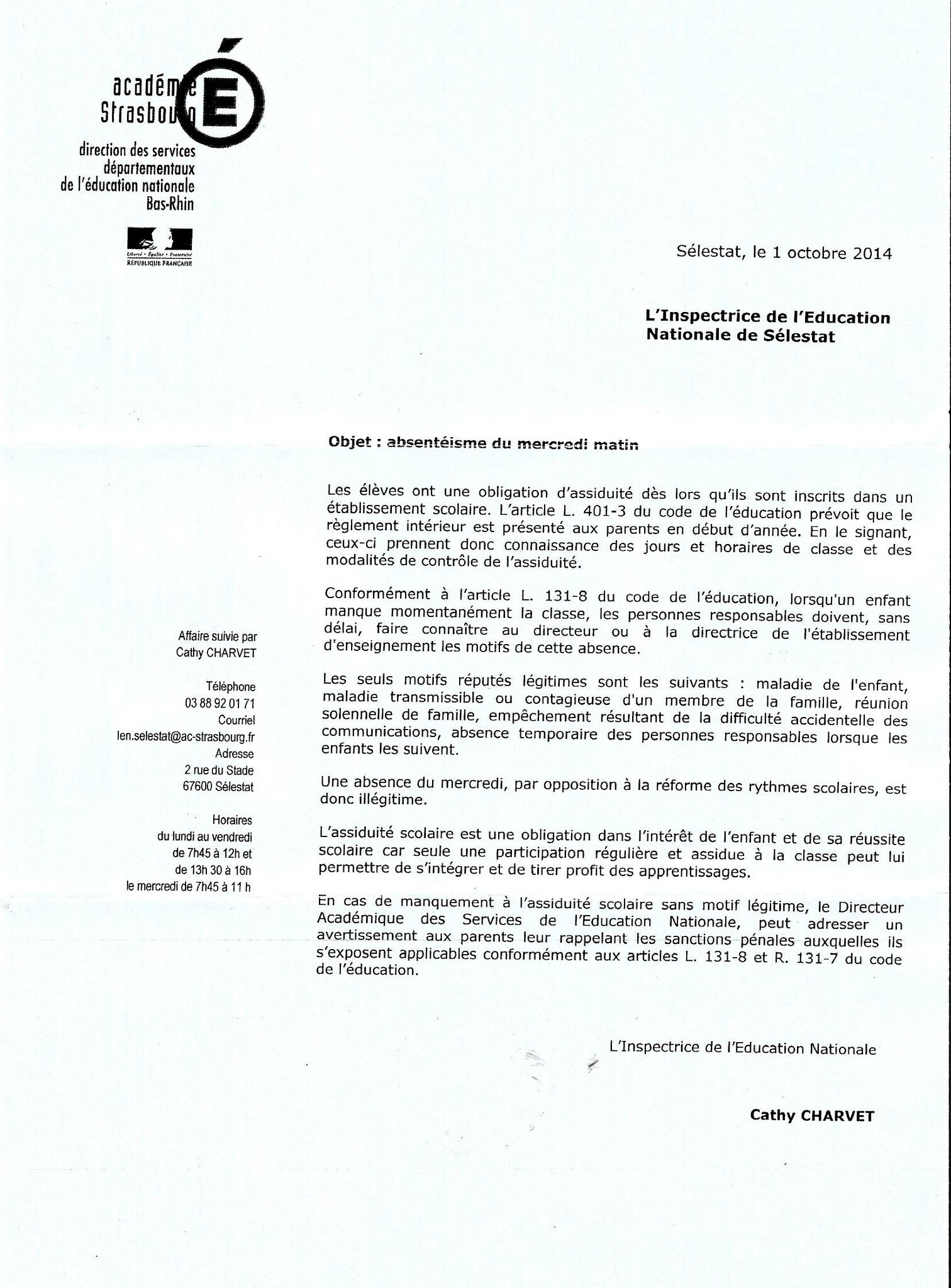 modele lettre administrative education nationale