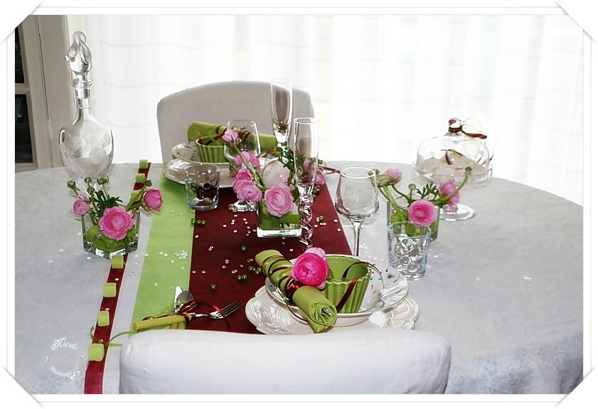 "Ma table ""Renoncules roses"""
