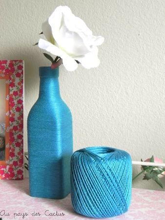 Vase laine bleu turquoise Au pays des Cactus 2