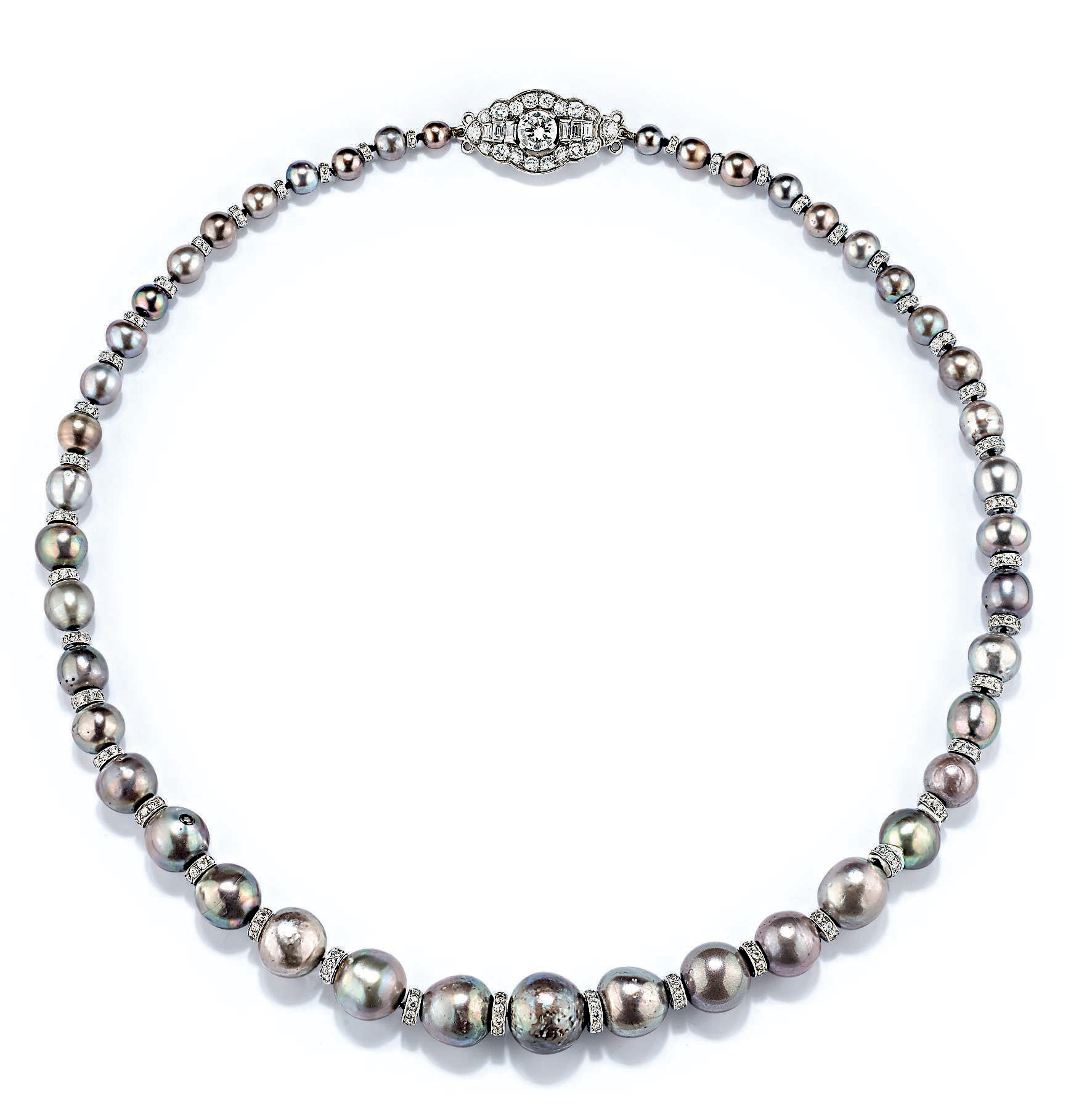 A natural and cultured coloured pearl and diamond necklace