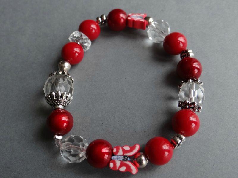 Bracelet et boucles d 39 oreilles papillon rouge menthe l 39 eau - Fil elastique pour bracelet ...