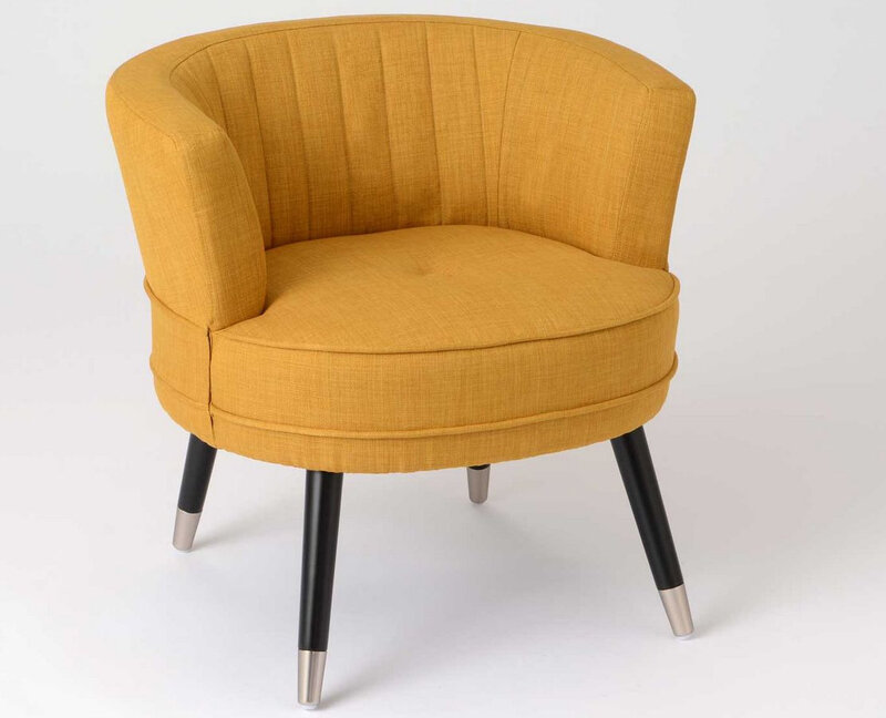 fauteuil moutarde rond
