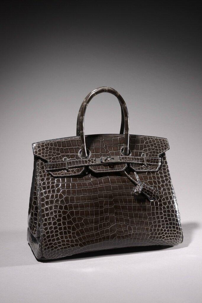 """Hermès Paris Made in France, Sac """"Birkin"""" 35 cm en crocodile porosus gris éléphant, Année 2007"""