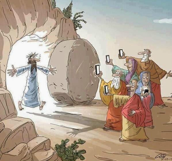 Pâques Resurrection de Jésus et réseaux sociaux CARICTURE Côté 2012