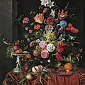 Jan davidsz. de heem, flowers in a glass vase on a draped table, with a silver tazza, fruit, insects and birds