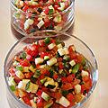 Ecume de tomate aux petits legumes en verrines