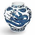 A magnificent very rare large blue and white 'dragon' jar, guan, xuande four-character mark in underglaze blue and of the period
