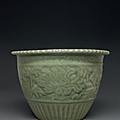 A rare Longquan celadon carved jardinière, Early Ming dynasty, 14th century