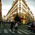 La rue Bergère depuis la rue du Faubourg Montmartre.