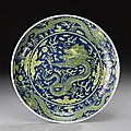 An underglaze-blue and yellow-glazed 'dragon ' dish. Qianlong Seal Mark And Period