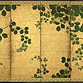 A six fold paper screen painted in ink and colour on a gold ground with trailing vines, japan, 17th century, edo period