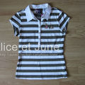 Abbey Dawn Tee Striped Lurex Polo Grey