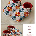 chaussons poisson multicolores