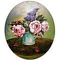 bouquet pivoines et lilas peinture valérie Albertosi