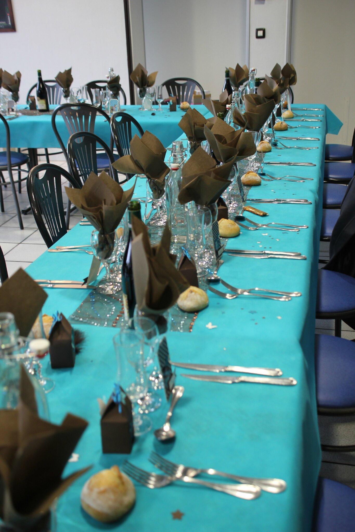 Un bapt me turquoise et chocolat toyote passions - Deco table turquoise chocolat ...