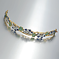 An art nouveau enamel and diamond bracelet, by vever, circa 1905