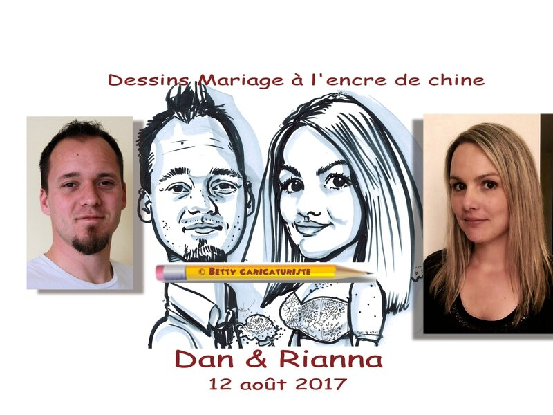 Dessins drawing mariage wedding for print a imprimer Betty caricaturiste caricature groom bride mariee