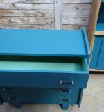 Commode et bibliotheque bleu petrole vert arsenic 3