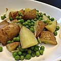 Salade de petits pois, pommes de terre nouvelles et vinaigrette au miel