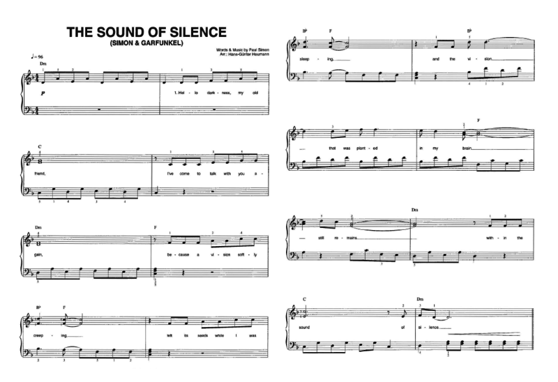 partition piano sound of silence