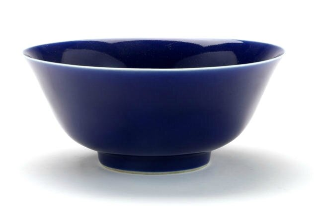 A cobalt blue glazed bowl, Jiaqing six-character mark and of the period