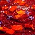 Carpaccio de betterave aux fleurs, sans blé, sans lait