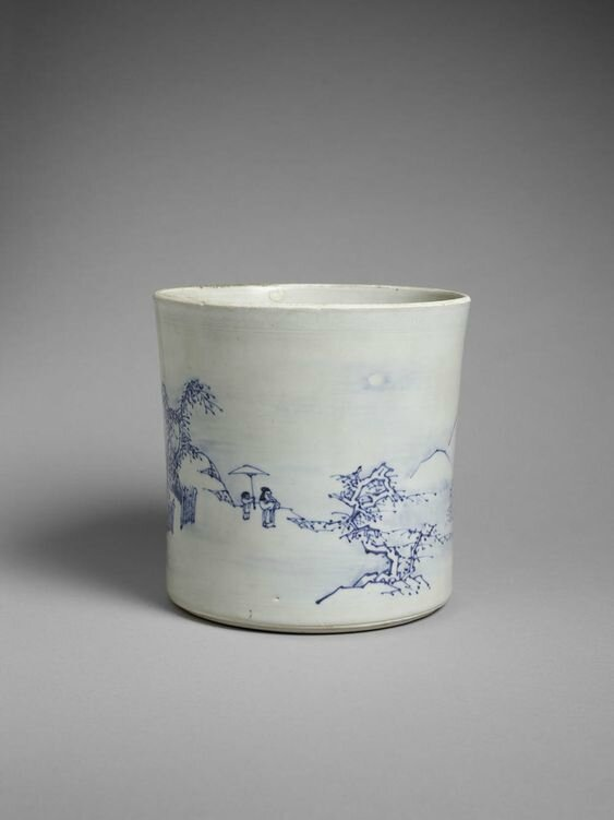 Brushpot with Snow Scene, China, Transitional period, 17th century, Hatcher Collection, Chinese junk sunk 1646, discovered 1983