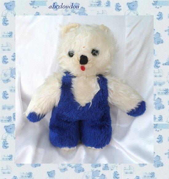Peluche Doudou Ours Bleu Et Blanc Vintage 41 cm