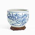 Large blue & white porcelain bowl with landscape, china, transitional period, 17th century