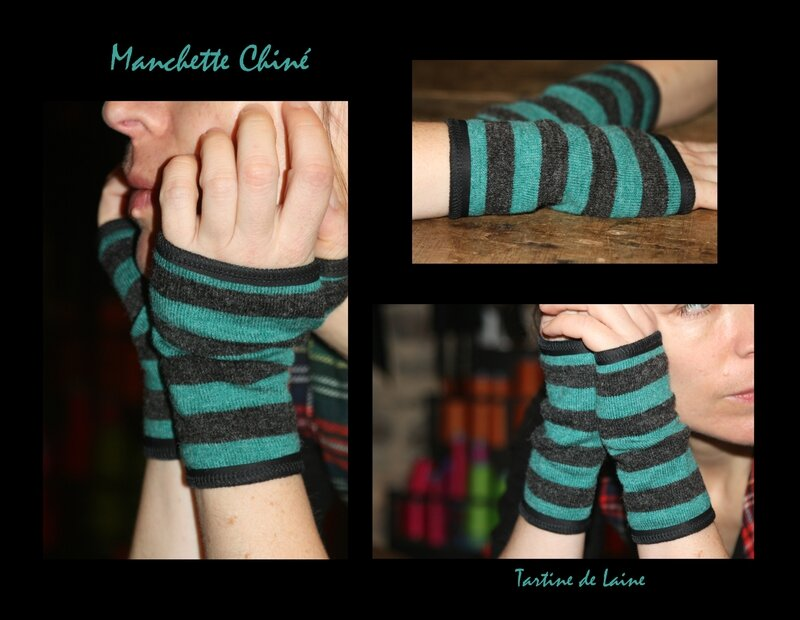 Manchette Rayure Gris Turquoise