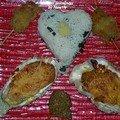 Huîtres gratinées au bacon et mini brochettes d'huîtres panées avec son tartare d'algues