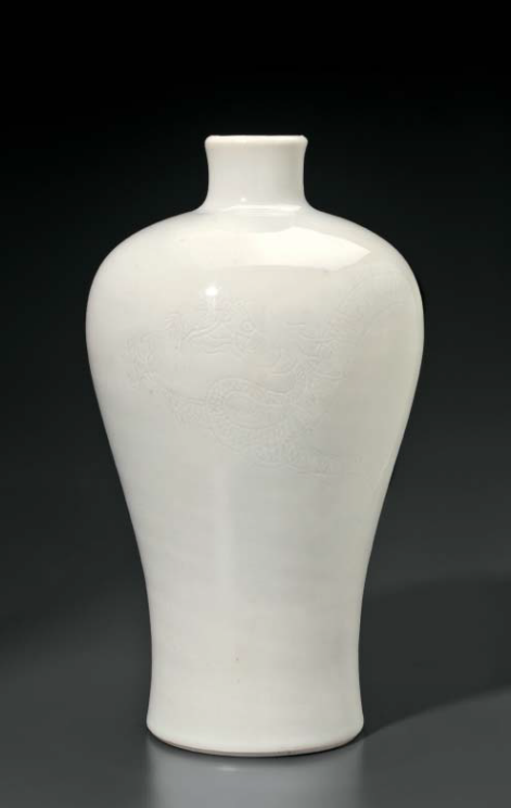 A white-glazed anhua-decorated meiping, China, Qing dynasty, 18th century