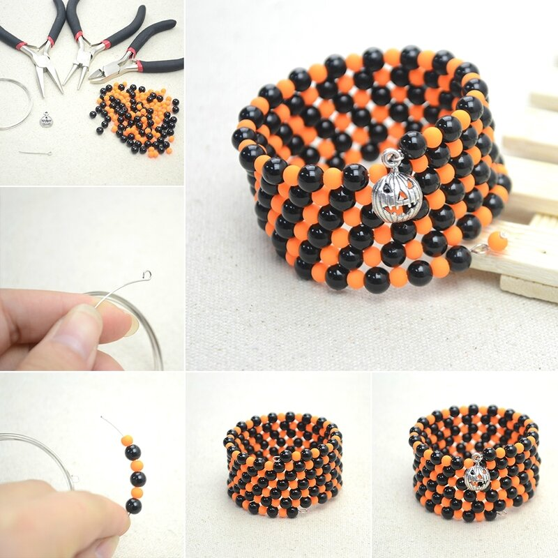 Easy-Jewelry-Making-Ideas-–-How-to-Make-a-Black-and-Orange-Bracelet-for-Halloween