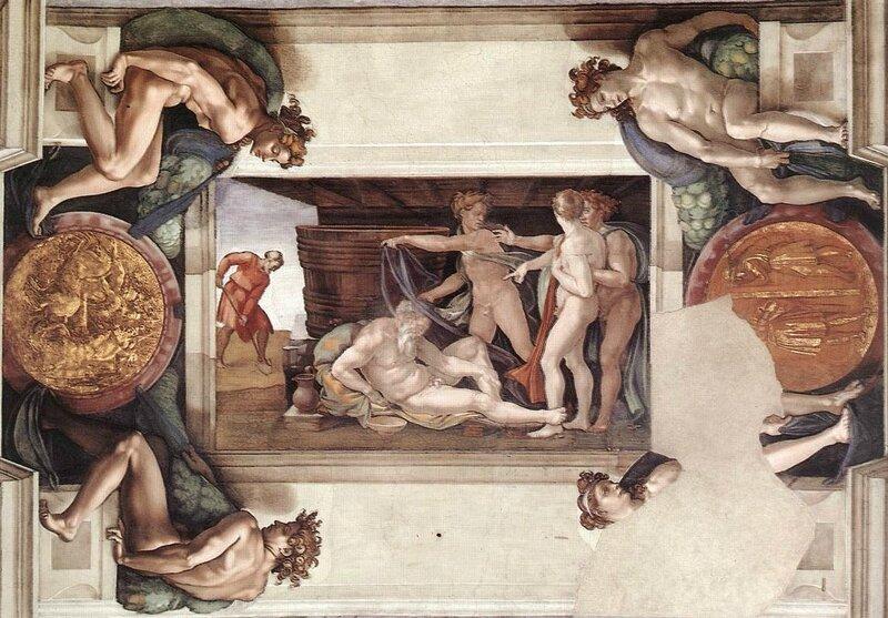 Michelangelo,_Drunkenness_of_Noah_00 - plafond de la chapelle sixtine