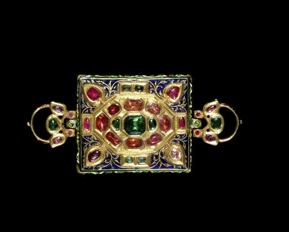 A gem-set enamelled gold Armband (Bazuband), North India, 19th Century