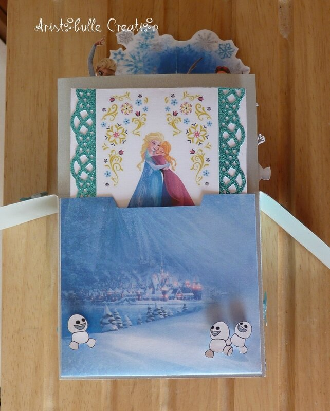 Card in a box Reine des Neiges - cachette message