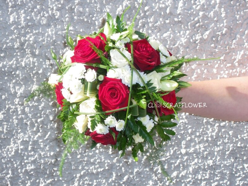 Bouquet de mari e rond rouge blanc photo de art flo bouquet de mari e closcrapflower - Bouquet de mariee rond ...