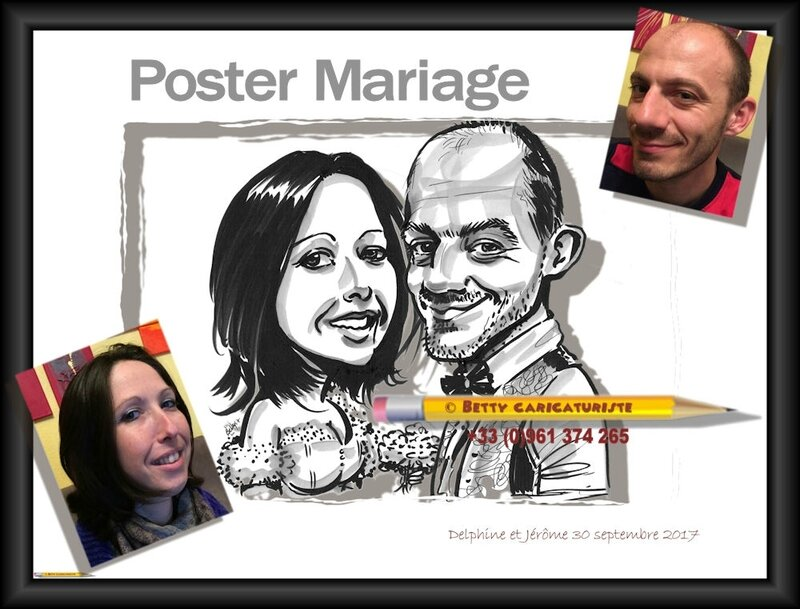 wedding poster mariage caricature cartoon caricaturiste cartoonist