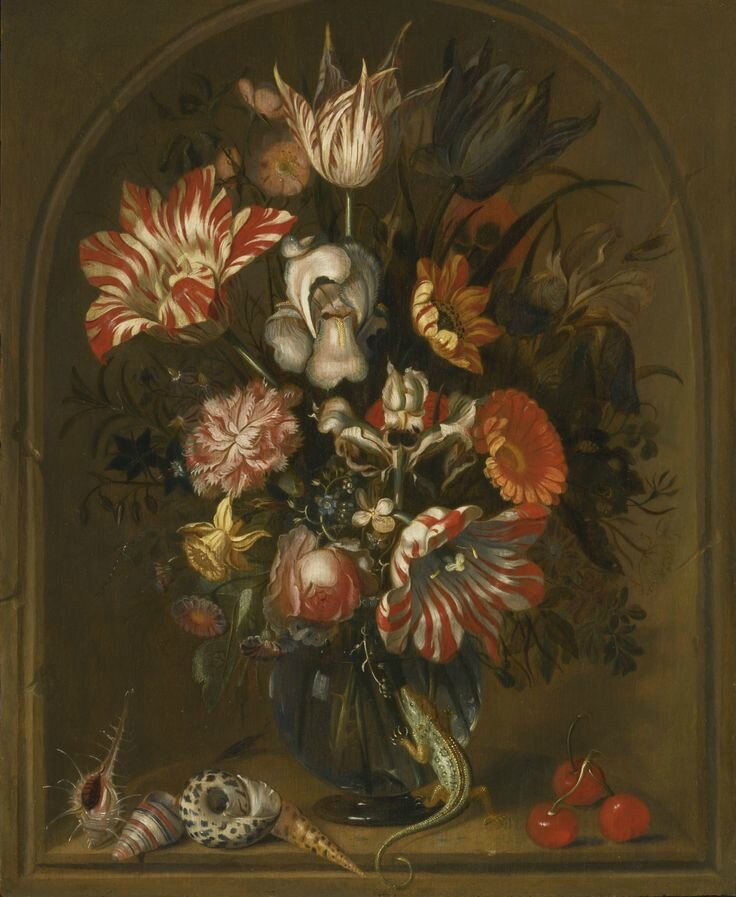 Jacob Marrel, Still life of flowers in a glass vase within a niche, with cherries, shells and a lizard