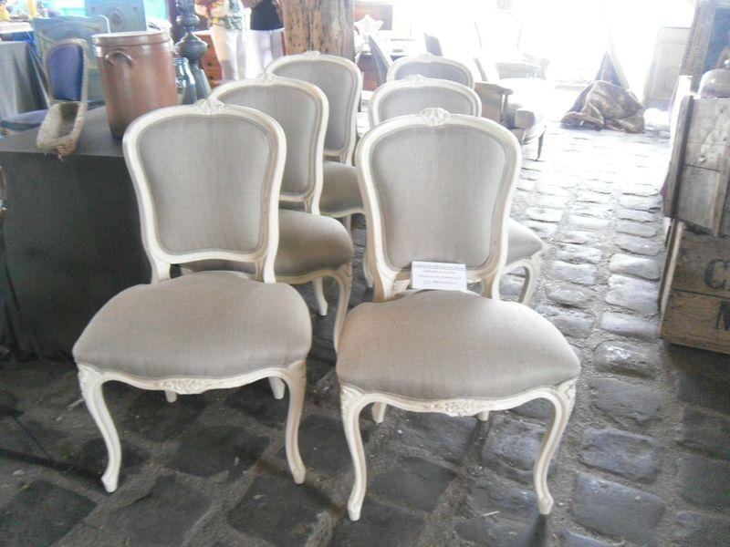 6 chaises de style louis xv peintes en blanc tapiss 233